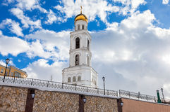 Belfry against the blue sky. Russian orthodox church Royalty Free Stock Photo