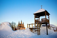 Belfry at ancient monastery Stock Images