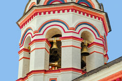 Belfry. Architecture and exterior bell tower of old orthodox church. Belfry and tier ringing. Masonry temple bell tower Stock Image
