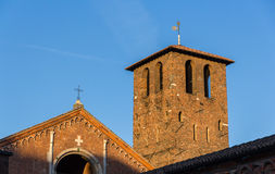 Belfry of Basilica di Sant'Ambrogio in Milan Stock Images