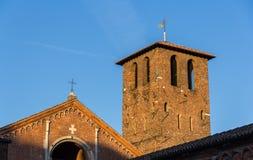 Belfry of Basilica di Sant'Ambrogio in Milan Stock Images