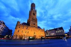 The Belfry or Belfort octagonal belltower. Royalty Free Stock Photo