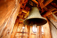 Belfry with a bell from the forties Royalty Free Stock Image