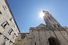 Belfry or bell tower of the church in Europe Royalty Free Stock Image