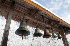 Belfry with bells in the open air. Russian Orthodox Church. Belfry with bells in the open air Royalty Free Stock Photography