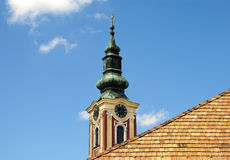 Belfry at blue sky in Budapes Royalty Free Stock Image