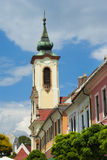 Belfry at blue sky in Budapest Stock Images
