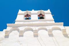 Belfry at blue sky on Mykonos island Stock Photo