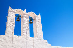 Belfry at blue sky on Sifnos island Stock Photography