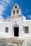 Belfry at blue sky on Sifnos island, Greece Stock Photo