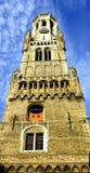Belfry of Bruges in Belgium stock photography