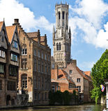 The belfry of Bruges. Belgium, view from the canal Stock Photography