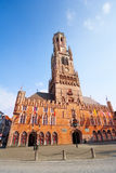 Belfry of Bruges and Grote Markt in summer Stock Photo