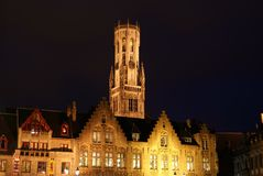 Belfry of Bruges at night Stock Image