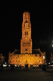 Belfry of Bruges at night Royalty Free Stock Photography