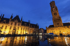 Belfry of Bruges at night Stock Photos