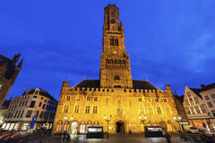 Belfry of Bruges at night Stock Images