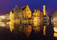 Belfry of Bruges reflected in the canal. Bruges, Flemish Region, Belgium Royalty Free Stock Photos