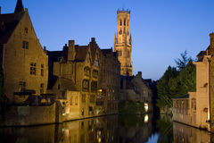Belfry and Canals of Bruges. Night shot of belfry twoer and canals in Bruges; Belgium; Europe Royalty Free Stock Image
