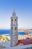 Belfry of a Catholic church in Ermoupolis, Syros island, Cyclades, Greece Royalty Free Stock Photos