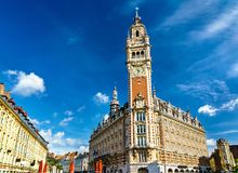 Belfry of the Chamber of Commerce. A historic building in Lille, France. Belfry of the Chamber of Commerce. A historic building in Lille, the Nord department of royalty free stock images