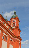 Belfry of Church the Assumption of Mary in Stara Boleslav Stock Image