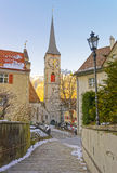 Belfry of Church of St Martin at sunrise in Chur Royalty Free Stock Photography