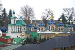 Belfry and domes of the Sacred and Uspensky Pskovo-Pechorsky monastery. Pechory, Pskov region. Ru Royalty Free Stock Photography