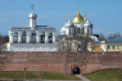 Belfry and domes of St. Sophia Cathedral close up against the background of the blue April sky. Veliky Novgorod, Russia Royalty Free Stock Images