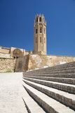 Belfry and door at Lleida cathedral Stock Images