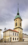 Belfry of evangelical church in Nowy Sacz. Poland.  Royalty Free Stock Photos