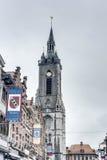 The belfry (French: beffroi) of Tournai, Belgium stock photos
