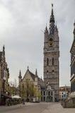 Belfry of Ghent, Belgium. The 91-metre-tall belfry of Ghent is  tallest belfry in Belgium Stock Photo