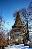 Belfry of Gothic Protestant Church in winter Miskolc Hungary stock photos