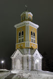 Belfry of the Kerimaki Church in winter night, Finland Stock Image