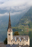 The belfry and Lutheran church on Lake Hallstatt Royalty Free Stock Images