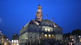 Belfry of Maastricht city hall plays melody stock footage