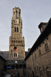 Belfry and Market Place in Bruges, Belgium Stock Images