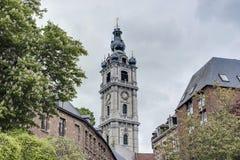 Belfry of Mons in Belgium. Stock Photos