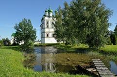 Belfry in Nicholas Vyazhischsky stauropegic monastery, Veliky Novgorod, Russia Stock Photo