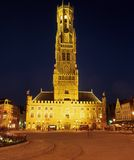 The Belfry at night, Bruges. Royalty Free Stock Photo