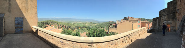 Belfry observation terrace panorama in Roussillon, France Stock Photos