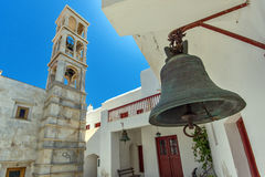 Belfry of of Panagia Tourliani monastery in Town of Ano Mera, island of Mykonos, Greece Stock Photo