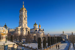Belfry Pochayiv Lavra, Ukraine. Belfry Pochayiv Lavra on a clear winter day, Ukraine Royalty Free Stock Photos