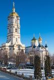 Belfry Pochayiv Lavra, Ukraine. Belfry Pochayevskaya laurels on a clear winter day, Ukraine Stock Photo