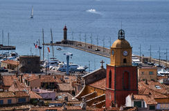Belfry and the port of Saint Tropez Stock Images