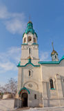 Belfry of Resurrection Cathedral in Yuzhno-Sakhalinsk Stock Photo