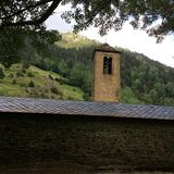 Romanesque bell tower in Andorra stock photo