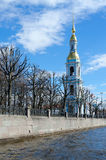 Belfry of St. Nicholas Epiphany Cathedral on Kryukov Canal Embankment, St. Petersburg, Russia Stock Image