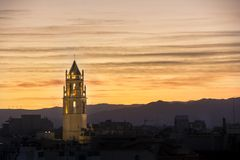 Belfry of St. Peter in Reus at sunset. Stock Photography